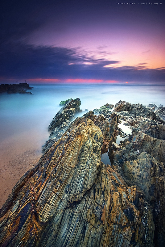 Long exposure waterscape photography in Vila Nova de Milfontes, located in Alentejo, during sunset, made by landscape photographer José Ramos from Portugal