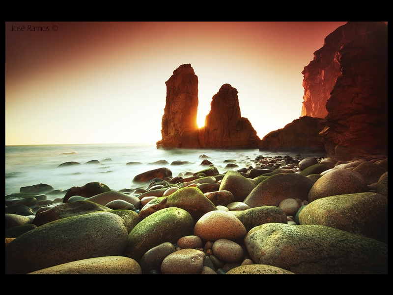 Long exposure waterscape sunset photography in Malhada do Ouriçal, near Cabo da Roca, located in Sintra, made by landscape photographer José Ramos from Portugal