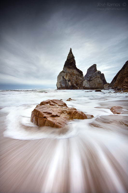 Long exposure waterscape sunset photography in Ursa beach, near Cabo da Roca, located in Sintra, made by landscape photographer José Ramos from Portugal