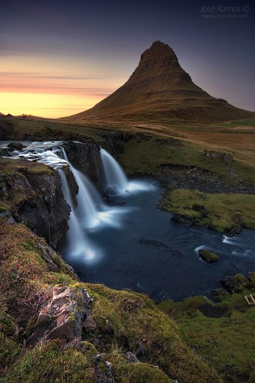 Long exposure landscape photography in Kirkjufell mountain, also depicting Kirkjufelfoss, in Iceland, shot by landscape photographer José Ramos from Portugal