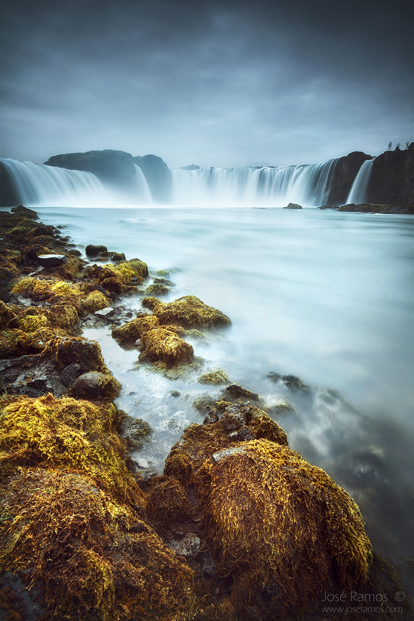 Long exposure waterscape photography in Godafoss waterfall, located in Iceland, shot by landscape photographer José Ramos