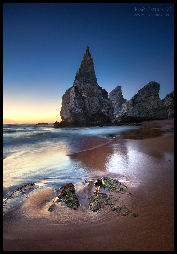 Long exposure waterscape sunset photography in Ursa beach, near Cabo da Roca, located in Sintra, shot by landscape photographer José Ramos from Portugal