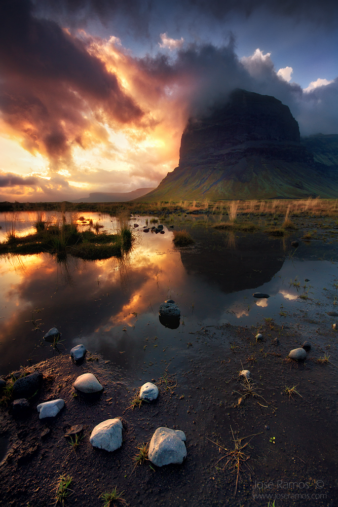 Landscape photography showing the Logmanupur mountain in Iceland, shot ...