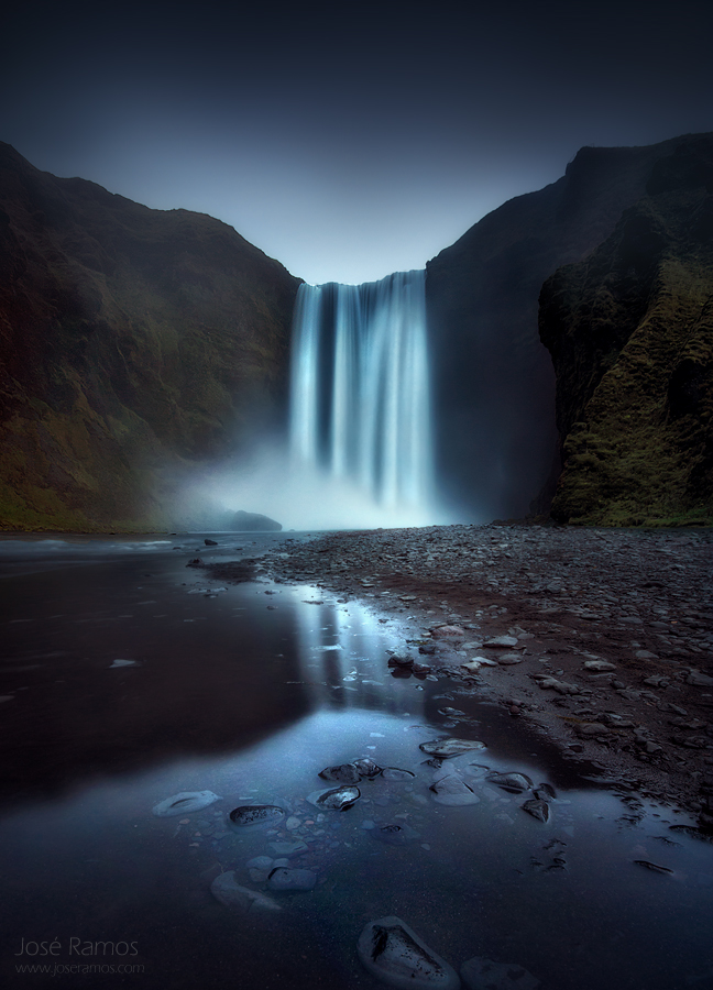Long exposure waterscape photography in Skogafoss waterfall, located in Iceland, shot by landscape photographer José Ramos