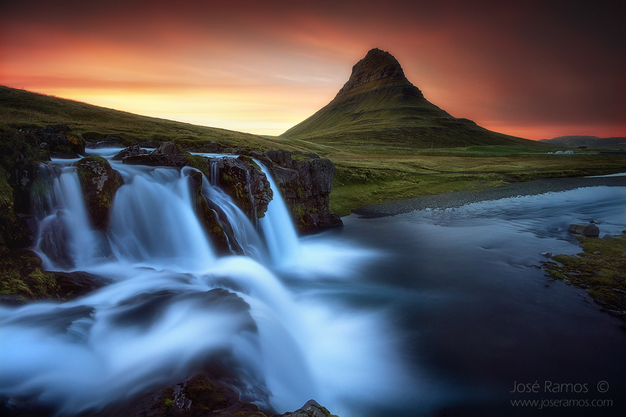 Long exposure landscape photography in Kirkjufell mountain, also depicting Kirkjufelfoss, in Iceland, shot by landscape photographer José Ramos from Portugal
