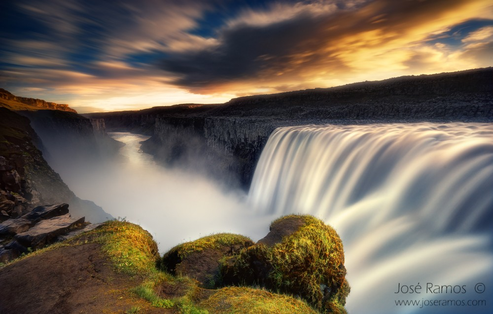 Long exposure landscape photography depicting the West side of Dettifoss waterfall, in Iceland, during sunrise, shot by landscape photographer José Ramos from Portugal