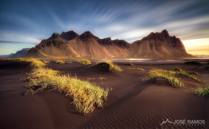 Long exposure landscape photography in depicting the Vestrahorn/Vesturhorn mountains in Iceland, shot by landscape photographer José Ramos from Portugal