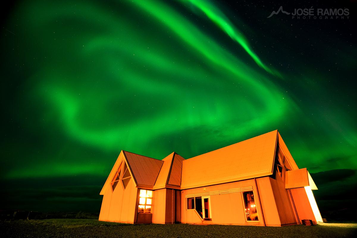 Northern Lights Above Djupivogur Church in Iceland