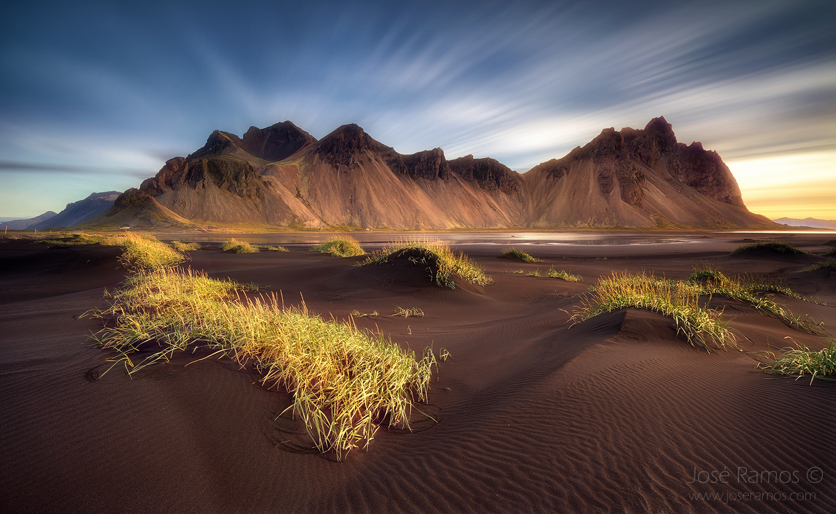 Vestrahorn Mountain sunrise in Iceland