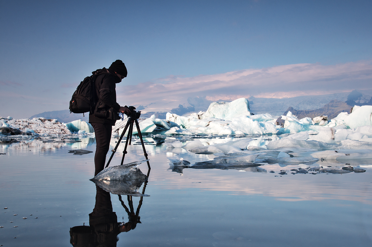 Shooting in the Jokulsarlon Glacier Lagoon in Iceland, using the Manfrotto 055XPRO3 tripod