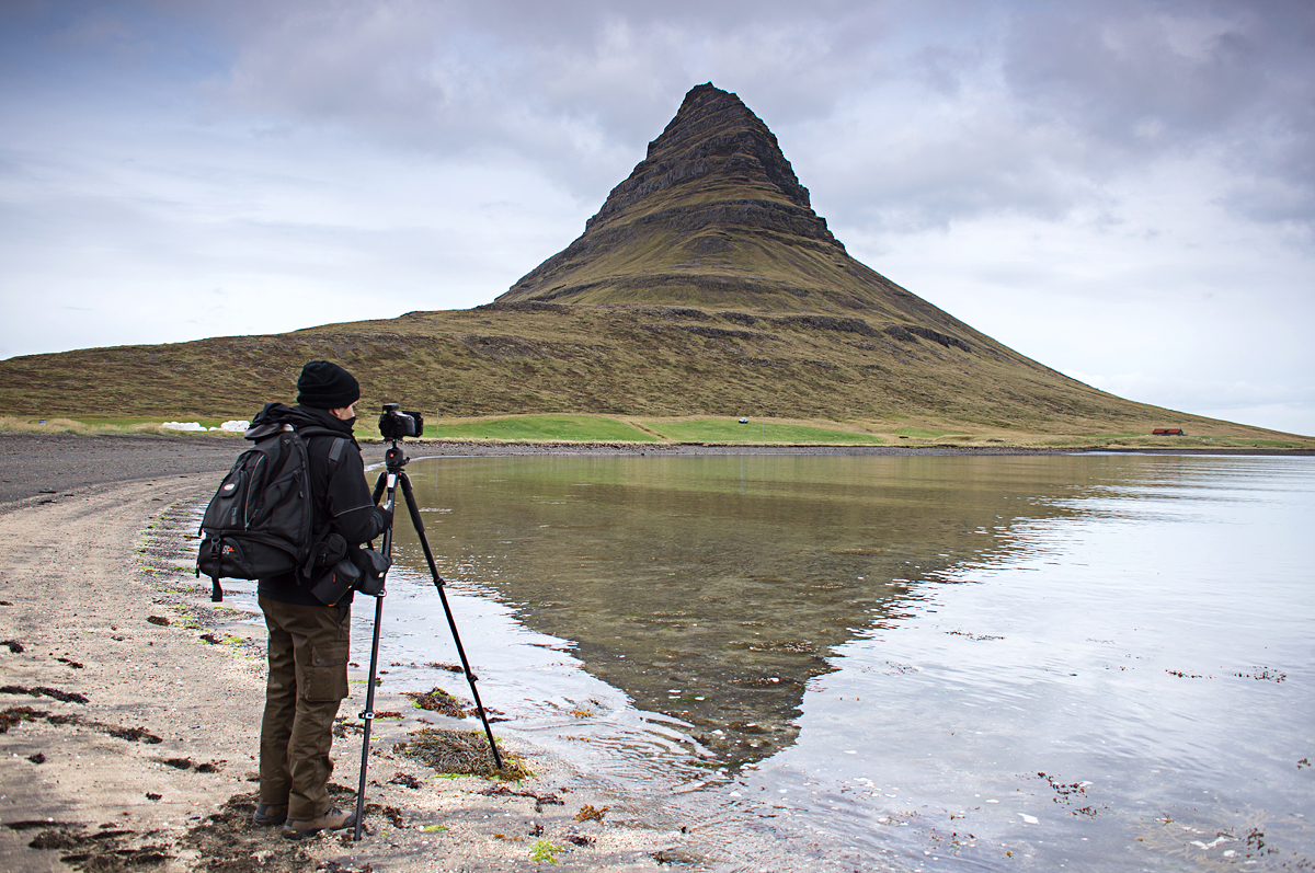 José Ramos shooting in Kirkjufell (Iceland) with the Manfrotto 055XPRO3 Tripod
