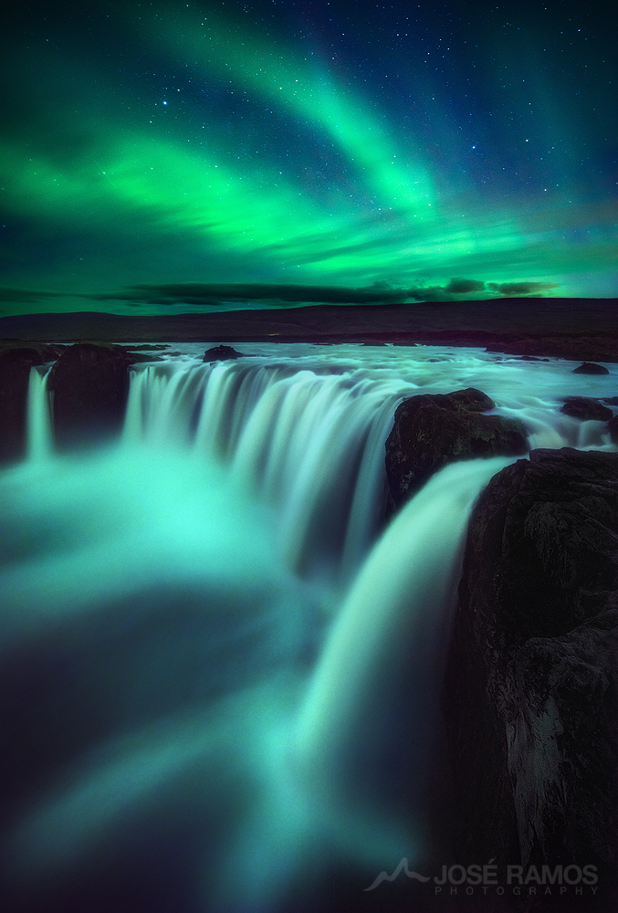 Long exposure night photography showing the Northern Lights over Godafoss, in Iceland, shot by landscape photographer José Ramos