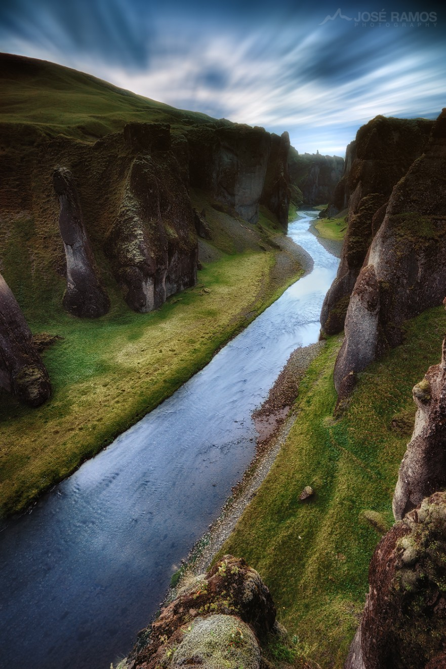 Long exposure waterscape photography in Fjaðrárgljúfur Canyon, located in Iceland, made by landscape photographer José Ramos