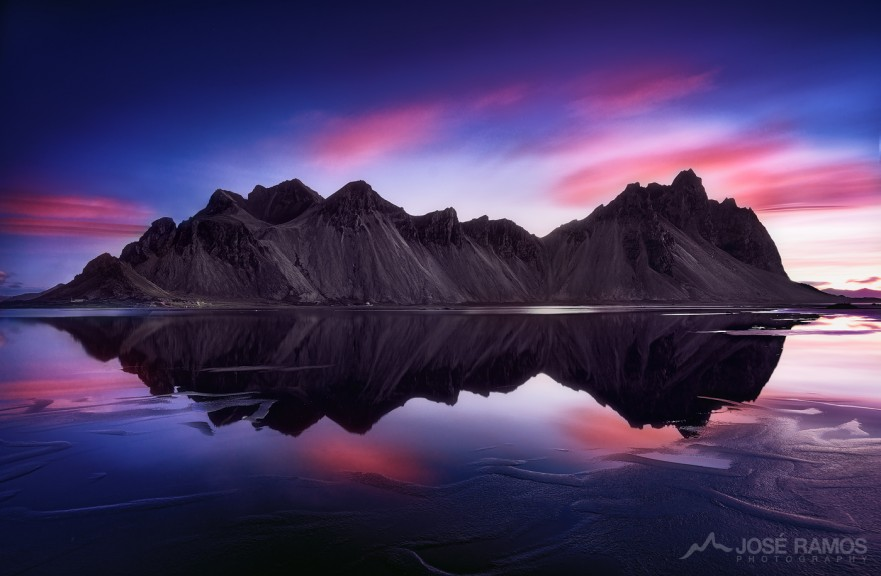Long exposure landscape photo showing the Vestrahorn Mountains in Iceland, during sunrise, shot by José Ramos
