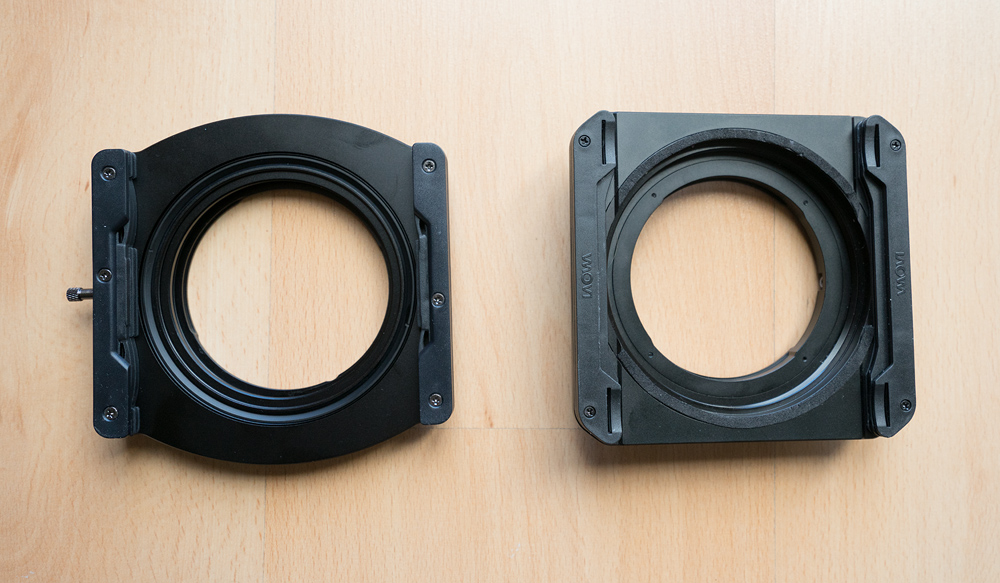 Comparison of the front side of the Nisi holder versus the Laowa holder, for the Venus Laowa 12mm lens