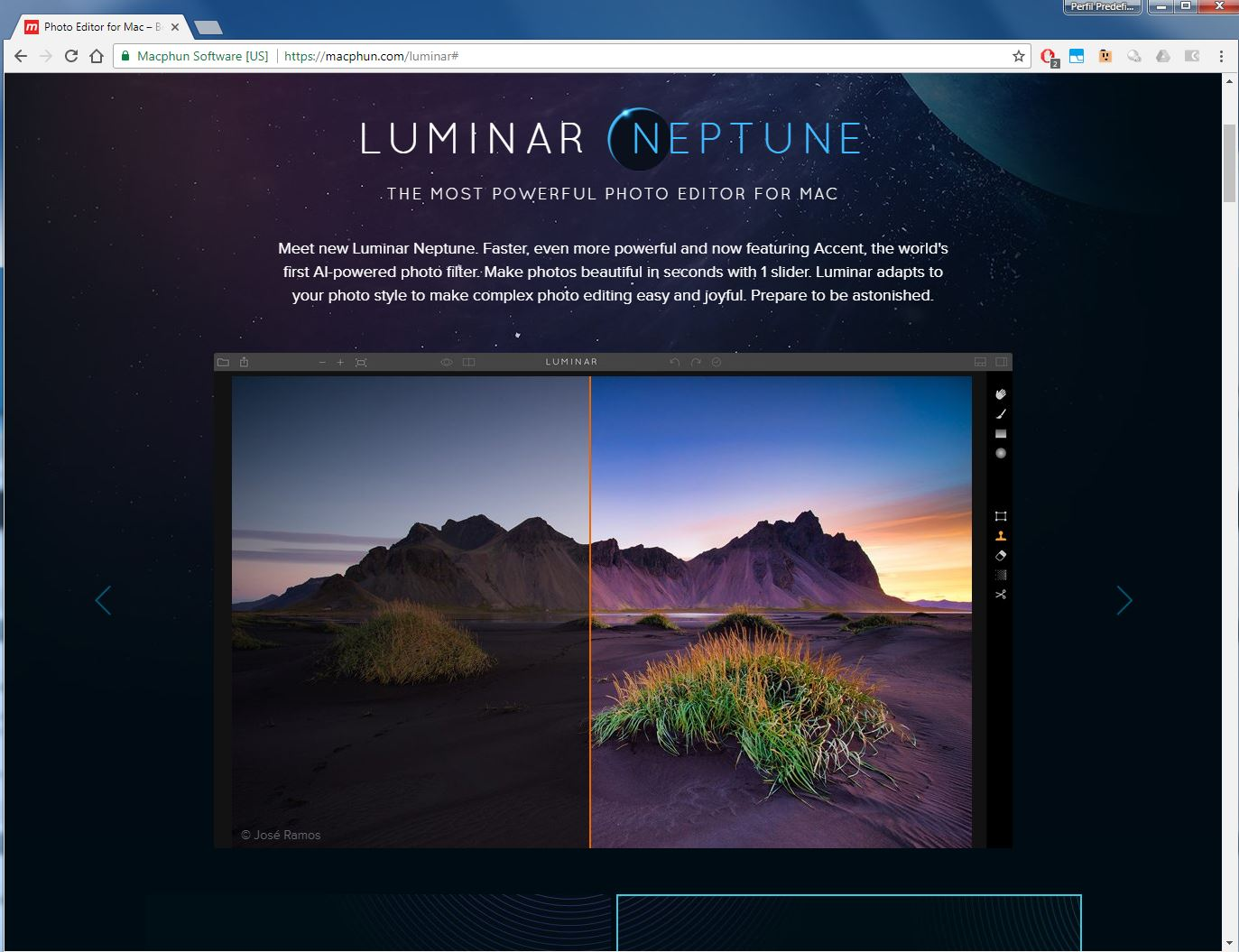Macphun Luminar collaboration with José Ramos landscape photographer from Portugal