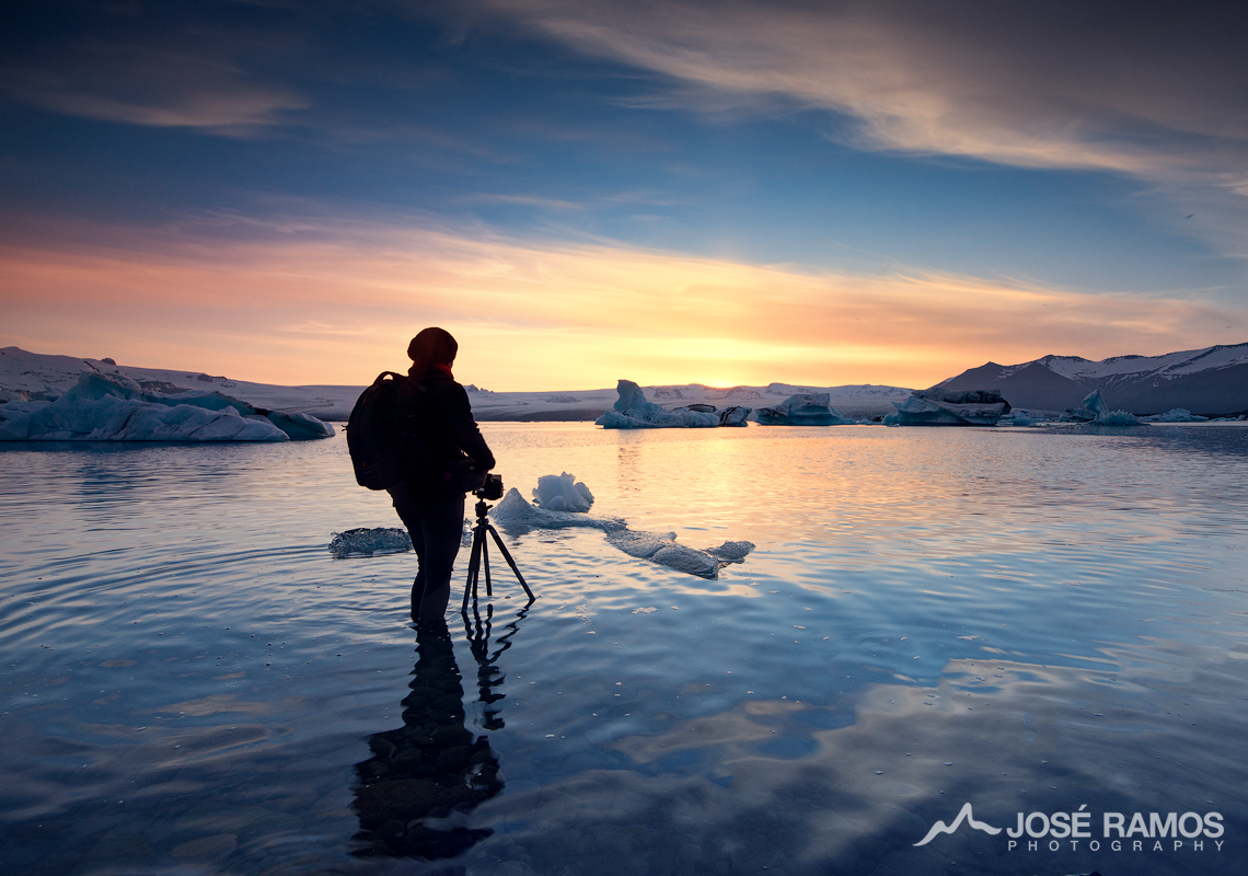 José Ramos landscape photographer from Portugal in Iceland during the midnight sun, Jokulsarlon glacier lagoon, 2016