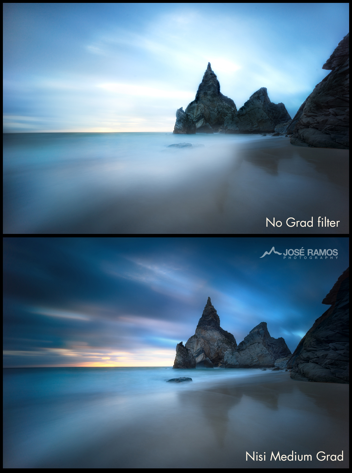 Comparison of two images, one made with no Graduated ND Filters, the other with the new Nisi Medium Grad filter (3 stops)