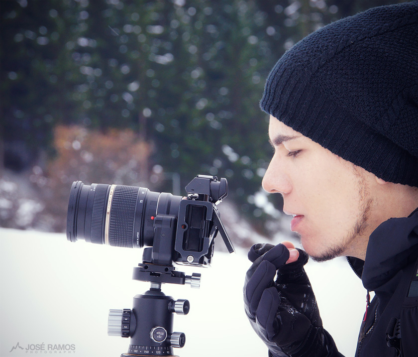 José Ramos shooting in the Dolomites with Vallerret Gloves