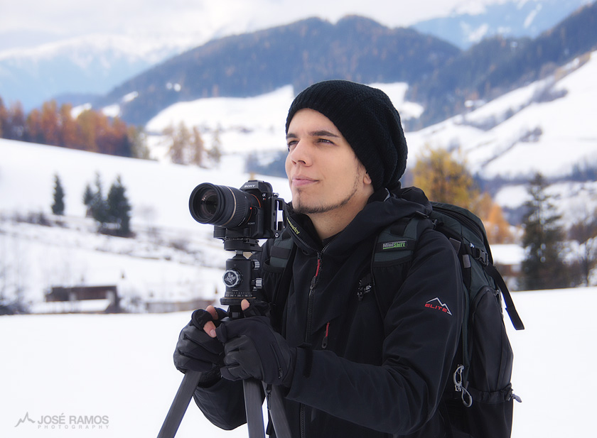 José Ramos shooting in the Dolomites with Sony Alpha, Vallerret Gloves and Mindshift Backpack