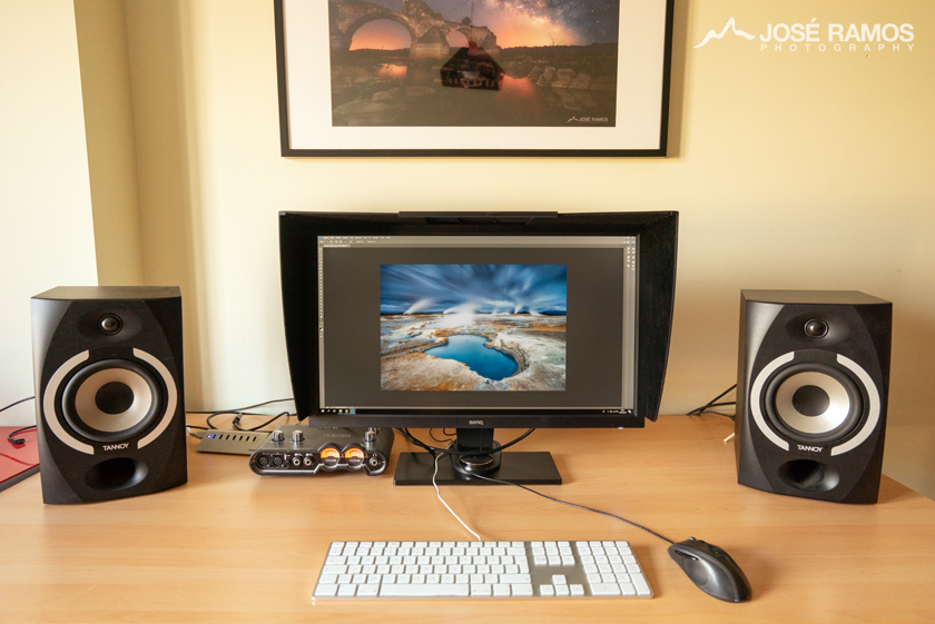 My desktop showing the BenQ SW2700PT and the Apple Cinema 30