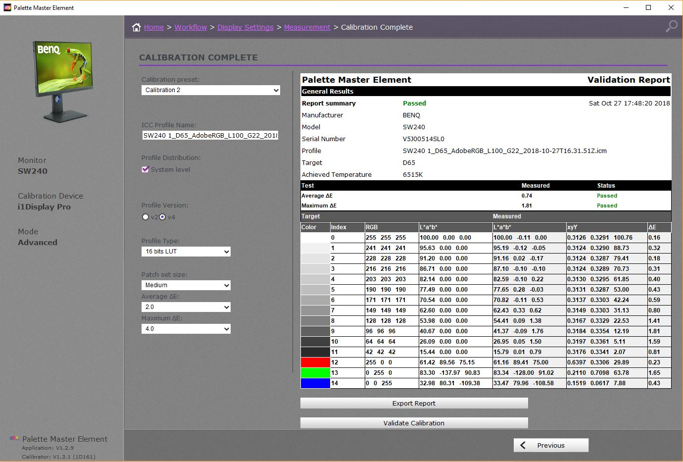 BenQ SW240 Adobe RGB Calibration Validation - Palette Master Elements Software