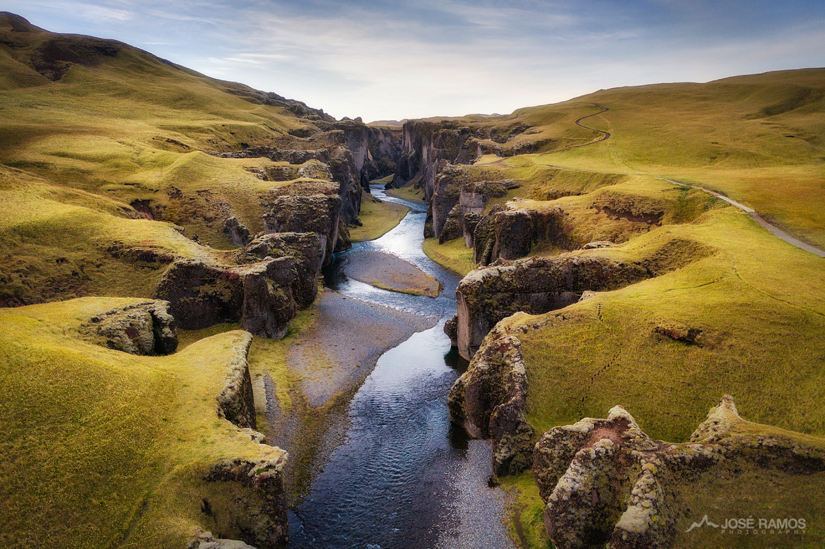Drone image showing the Fjaðrárgljúfur Canyon in Iceland - Edited with the BenQ On The Go Kit
