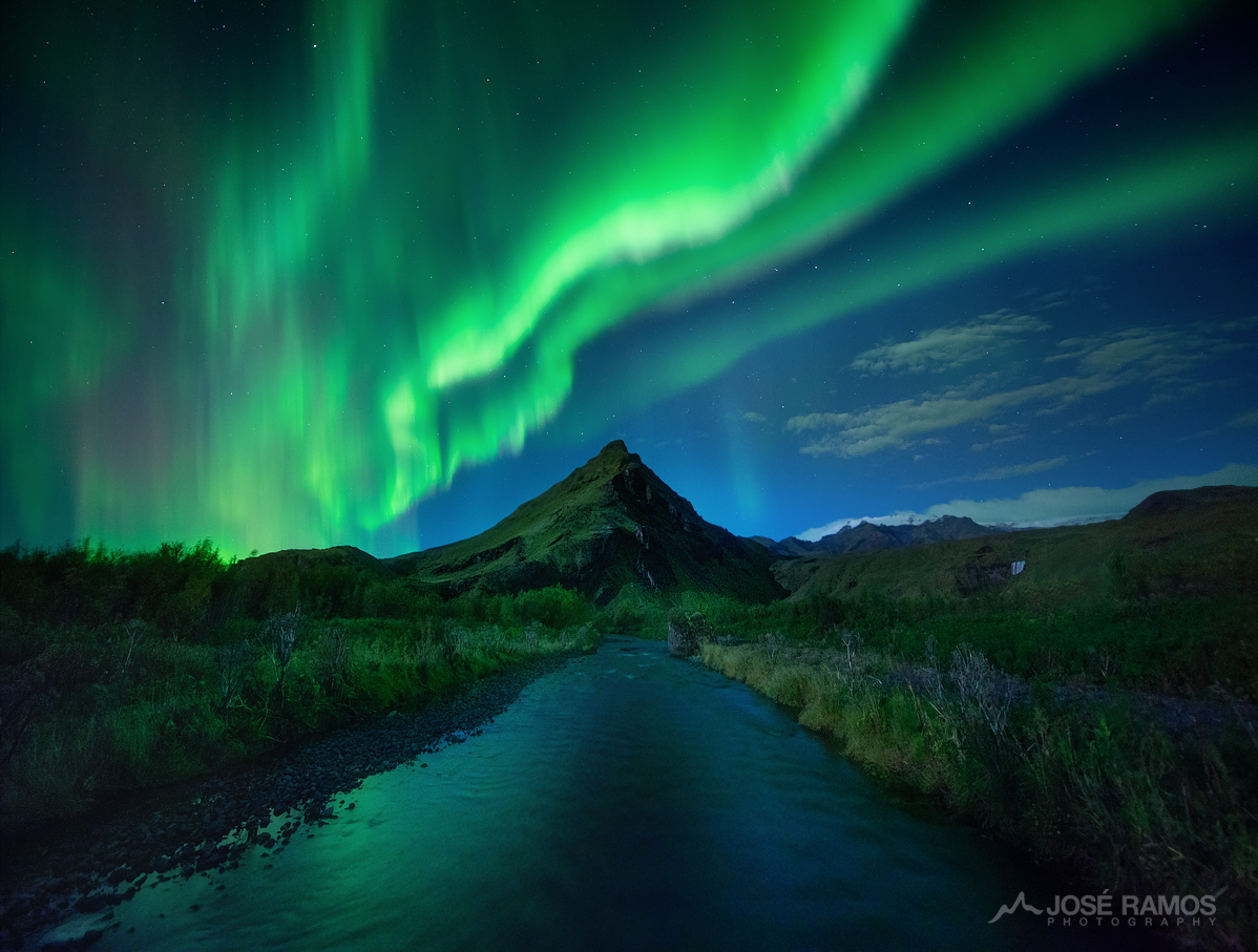 Northern Lights over a mountain in the Skogar area in Iceland - Edited with the BenQ On The Go kit during the trip