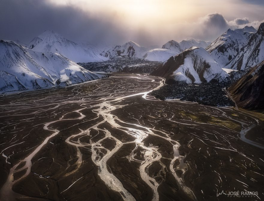 Aerial drone photography made in the Icelandic Highlands, in the Landmannalaugar area, shot by landscape photographer José Ramos