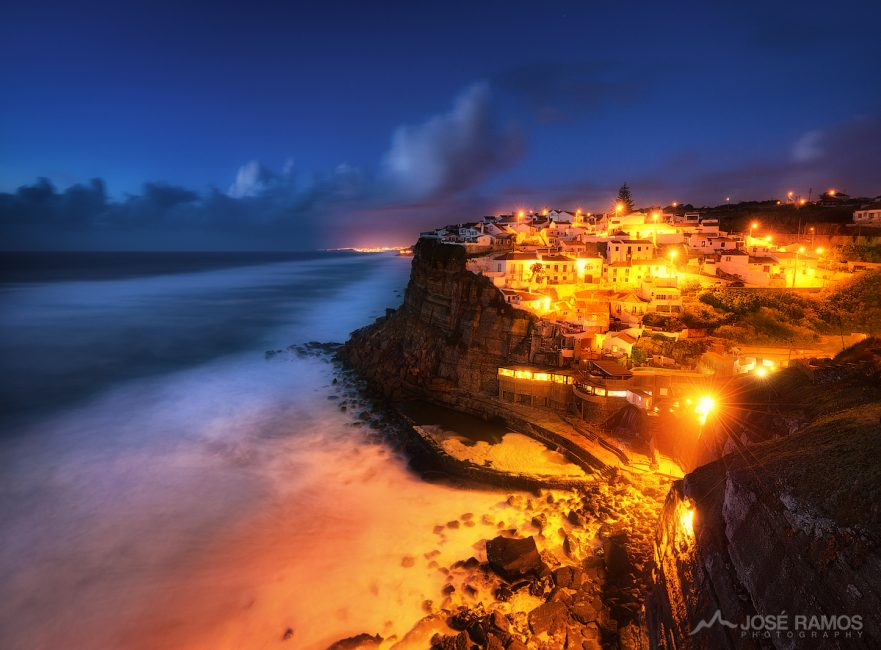 Night photography showing the beautiful Village of Azenhas do Mar in Sintra, Portugal, shot by landscape photographer José Ramos