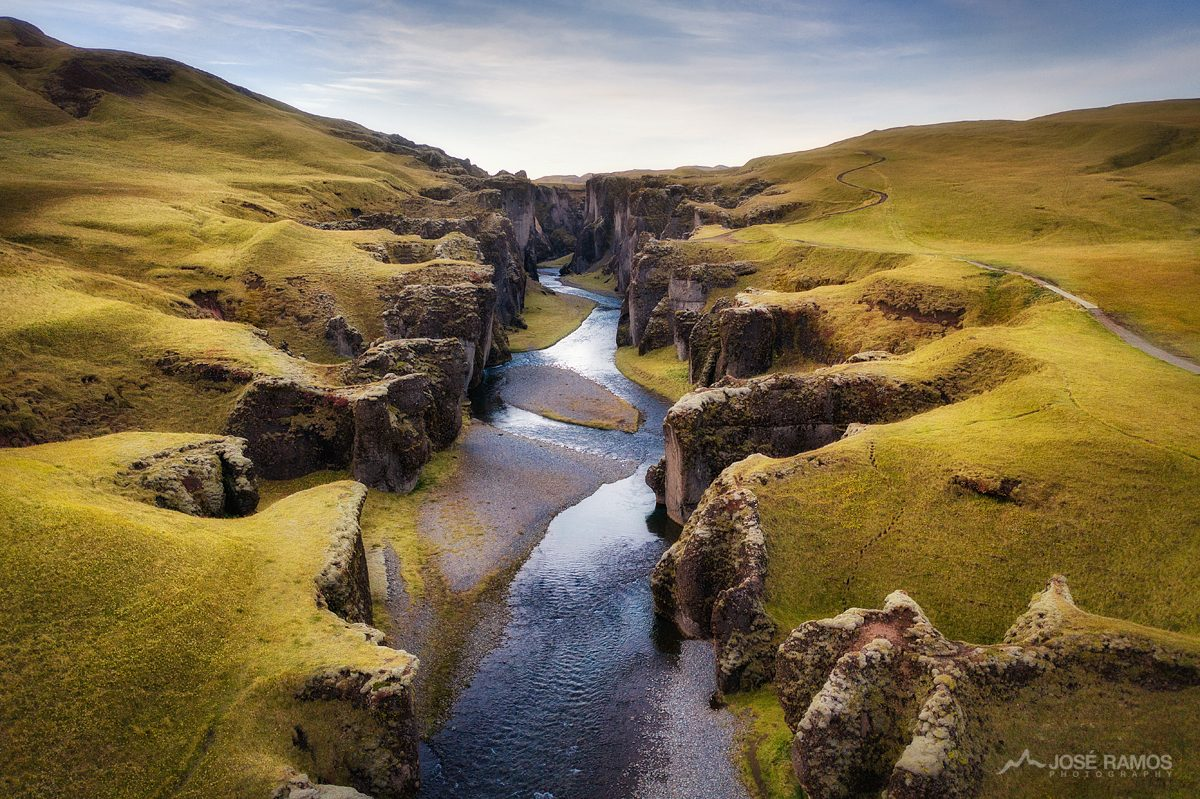 Aerial drone photo showing the Fjadrárgljúfur Canyon in Iceland, captured by landscape photographer José Ramos