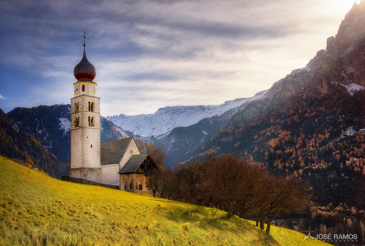 San Valentino church in the Dolomites, Italy, captured by landscape photographer José Ramos