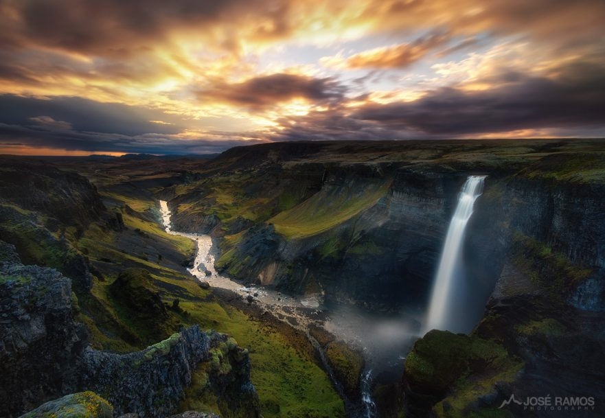 Landscape photo showing the massive Háifoss waterfall in Iceland, shot by landscape photographer José Ramos