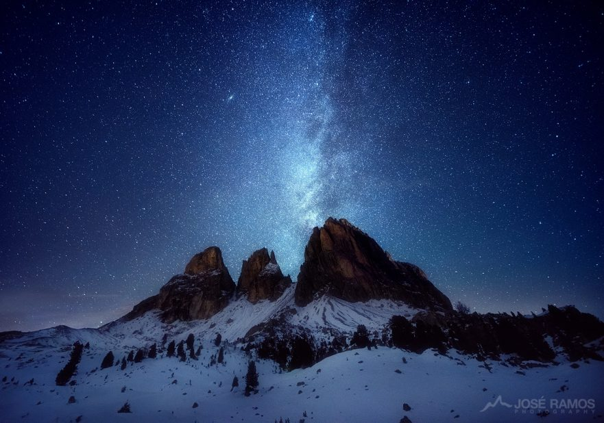 Night photography made in Passo Sella in the Dolomites, Italy, showing the Milky Way above the mountains