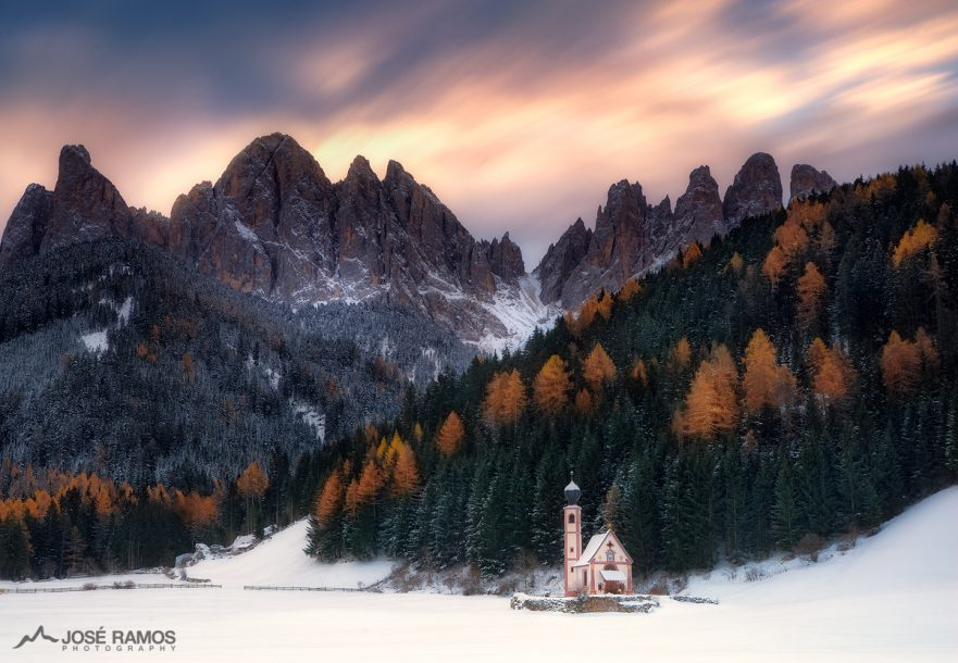 Landscape photo showing the San Giovanni church in the Dolomites, Italy, shot by landscape photographer José Ramos