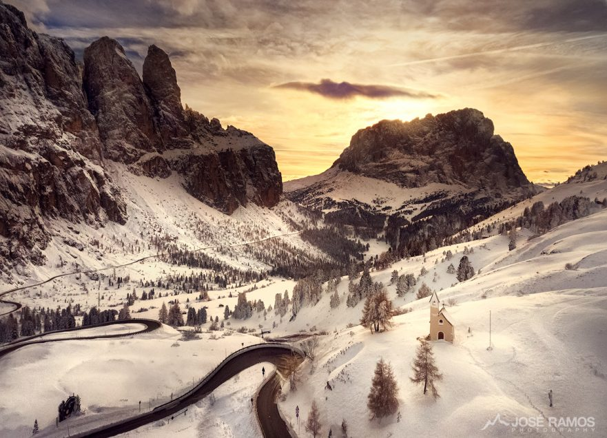 Aerial drone photography in Passo Gardena, located in the Dolomites, Italy, captured by landscape photographer José Ramos