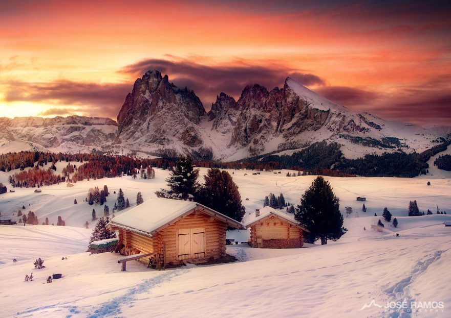 Winter landscape photography in Alpe Di Siusi, located in the Dolomites, Italy, shot by landscape photographer José Ramos