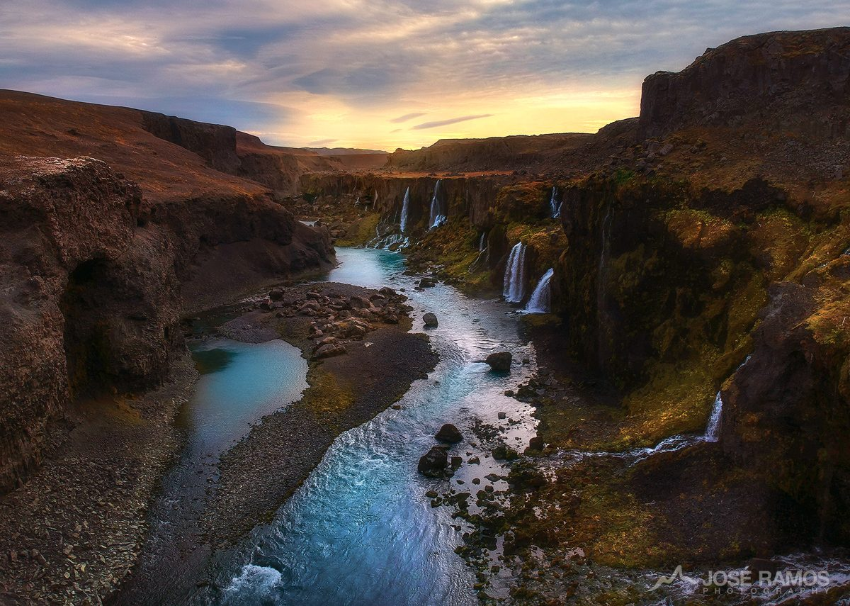Aerial drone photography made in the remote Sigoldugljufur Canyon in the highlands of Iceland, captured by landscape photographer José Ramos